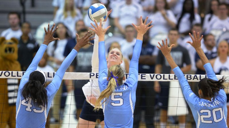 North Carolina rallied by Penn State and pulled off the biggest upset of the first weekend of the NCAA volleyball season.