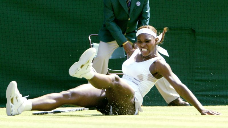 Serena Williams falls to the ground during the 2004 Wimbledon final, in which she lost to Maria Sharapova.