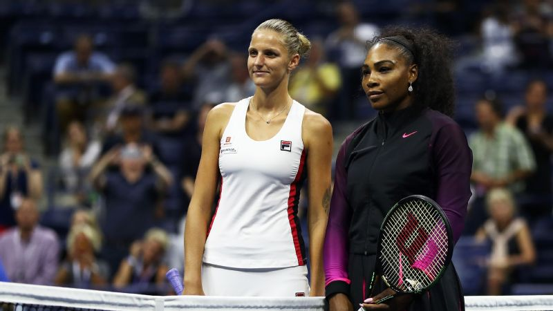 Karolina Pliskova of the Czech Republic and Serena Williams of the United States prepare for their Women's Singles Semifinal Match on Day Eleven of the 2016 US Open.