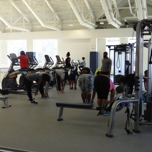 Spelman students participate in classes at the Wellness Center.