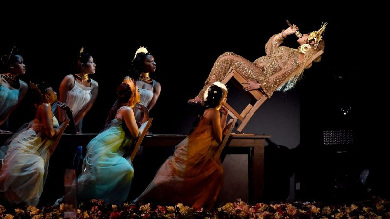 Beyonce blew minds and defied gravity at the 59th annual Grammy Awards on Sunday night.