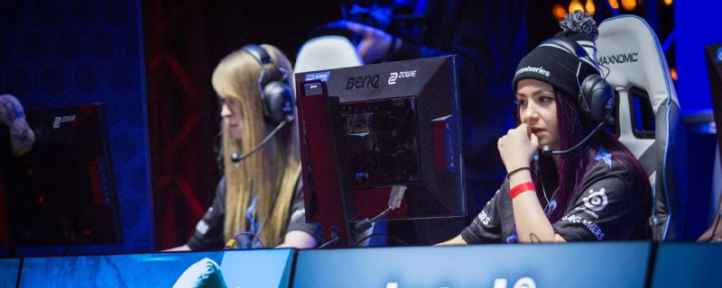 Then-Team Karma players Lynnie artStar Noquez, right, and Amanda rain Smith prepare for a Counter-Strike: Global Offensive match at the Intel Challenge Katowice in March 2016. The two, along with the rest of that roster, are now part of Team Dignitas.
