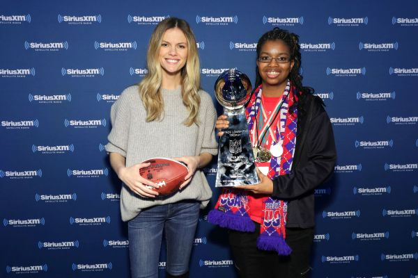 Sharita Taylor (right) worked with actress Brooklyn Decker this year on the Super Bowl LI Radio Row.