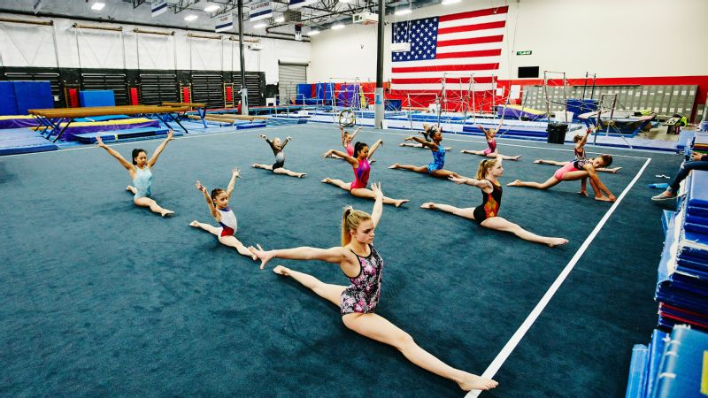 Gymnasts training