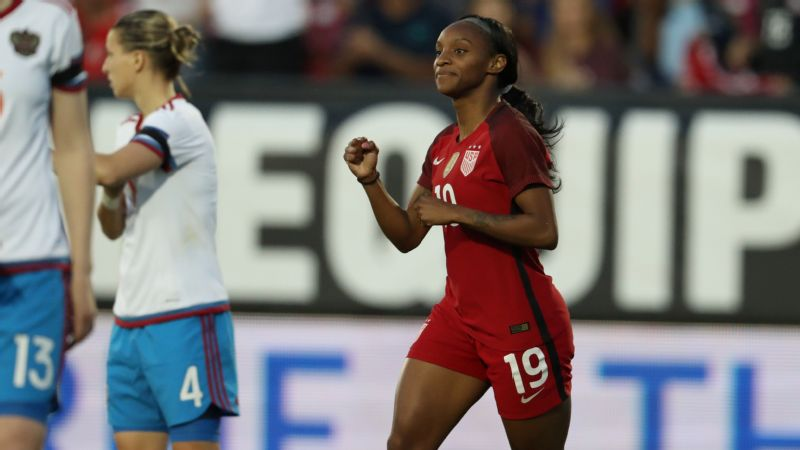 Crystal Dunn, 24, scored twice in Thursday's 4-0 win over Russia to give her 20 career goals in 49 caps.