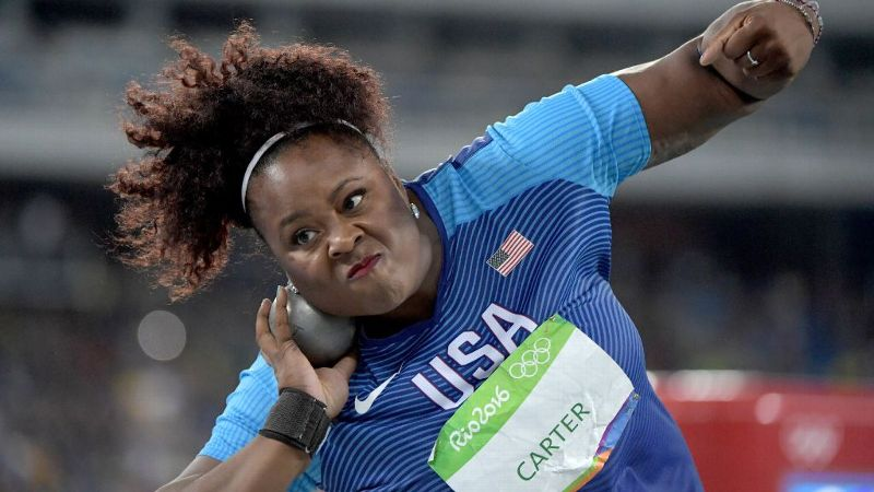 Team USA shot putter Michelle Carter threw a 20.63m at the 2016 Rio Olympics, shattering the American record.