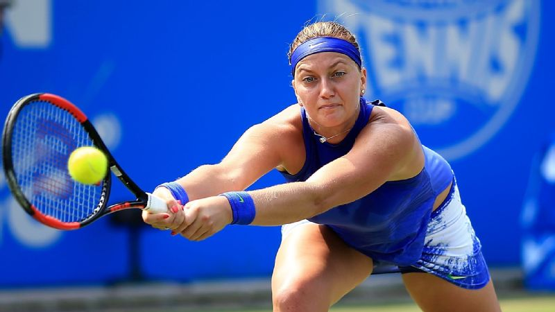 Petra Kvitova hits a backhand during her first-round victory over Tereza Smitkova at the Aegon Classic
