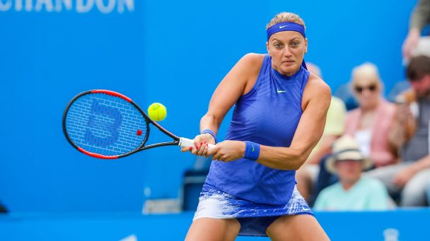 Petra Kvitova advanced to the final of the Aegon Classic in Birmingham as Lucie Safarova retired hurt in the second set.
