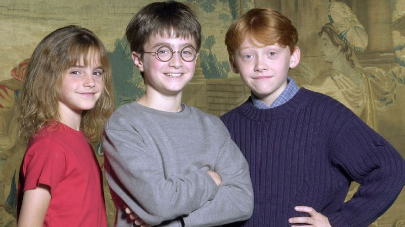 The film adaptation of the Harry Potter book series starred Emma Watson as Hermione Granger, left, Daniel Radcliffe as Harry, center, and Rupert Grint as Ron Weasley.