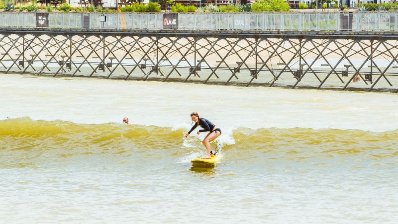 Alyssa Roenigk tests out the inner break at NLand Surf Park.