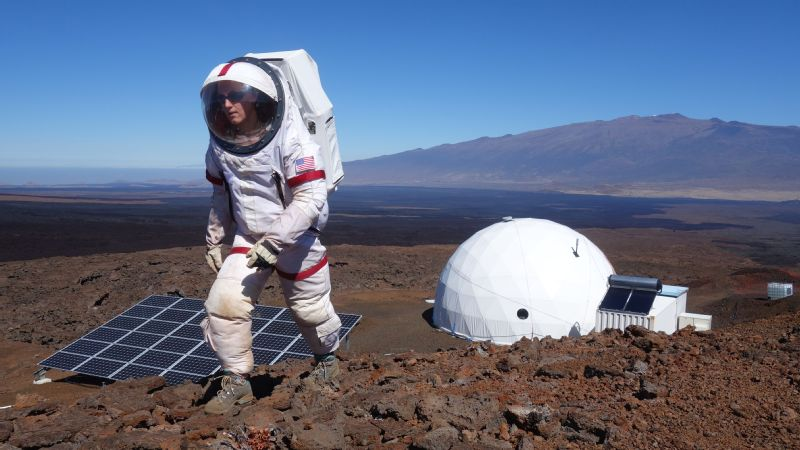 Every element of the HI-SEAS mission was set up to simulate the conditions of a Mars mission, including the dome seen here behind Carmel Johnston.