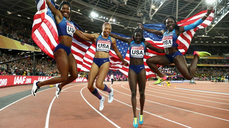 Left to right, Aaliyah Brown, Allyson Felix, Morolake Akinosun and Tori Bowie celebrate their gold medal in the 4x100-meter relay final, which put Felix out on her own as the most decorated athlete in World Championships history.