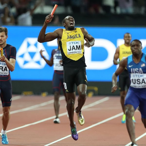 Usain Bolt took six strides into the anchor leg of the men's 4x100-meter final before pulling up with a cramp in his hamstring.