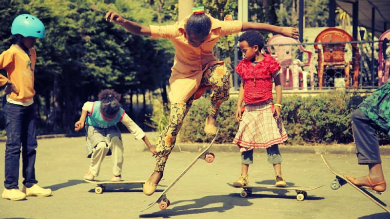 Megabi Skate is a program in Ethiopia that engages youth through skateboarding.