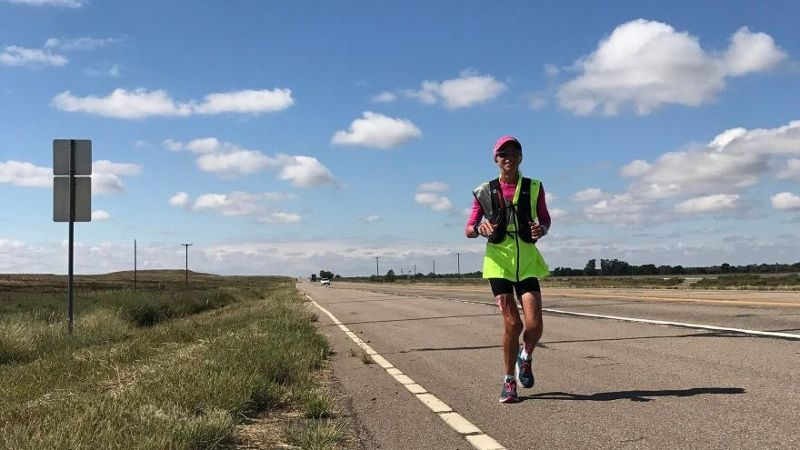 Mimi Anderson, 55, began running in Los Angeles on Sept. 7. If all goes well, she will finish her cross-country run in New York City at the end of October.