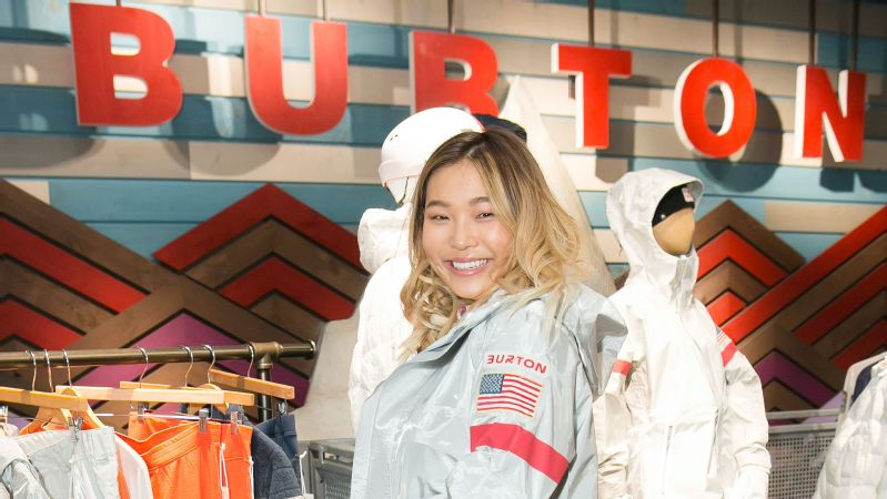 Chloe Kim in the Burton 2018 Olympic elite collection competition jacket.