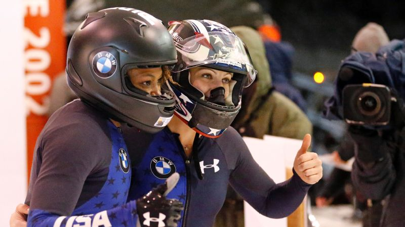 Jamie Greubel Poser, right, said her win at a 2017 World Cup race in Park City, Utah (with Lauren Gibbs, left)  was one of the highlights of her career.