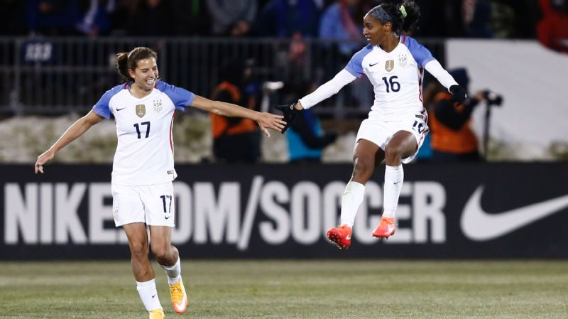 Tobin Heath and Crystal Dunn