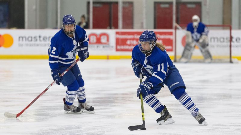 Jessica Platt, right, is the first openly transgender player in the Canadian Women's Hockey League.