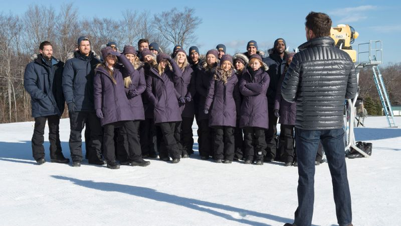 Bachelor Winter Games contestants face host Chris Harrison for their next challenge on the slopes.