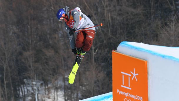American Nick Goepper took this silver in freestyle skiing's slopestyle. He won bronze as part of a U.S. sweep in the event's Olympic debut in 2014.