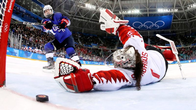 Jocelyne Lamoureux-Davidson made this shot -- which put the United States in position to win a gold medal with one more stop.