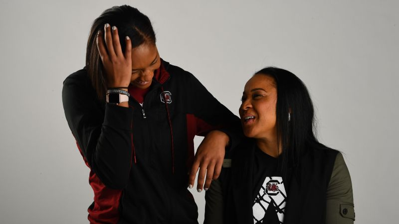 A'ja Wilson and Dawn Staley