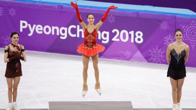 Four of the top five finishers in the 2018 women's free skate were from Russia, including gold medalist Alina Zagitova, center, and silver medalist Evgenia Medvedeva, left, or from Japan.