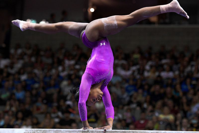Gabby Douglas during the balance beam in the women's gymnastics U.S. Olympic team trials at SAP Center in 2016.