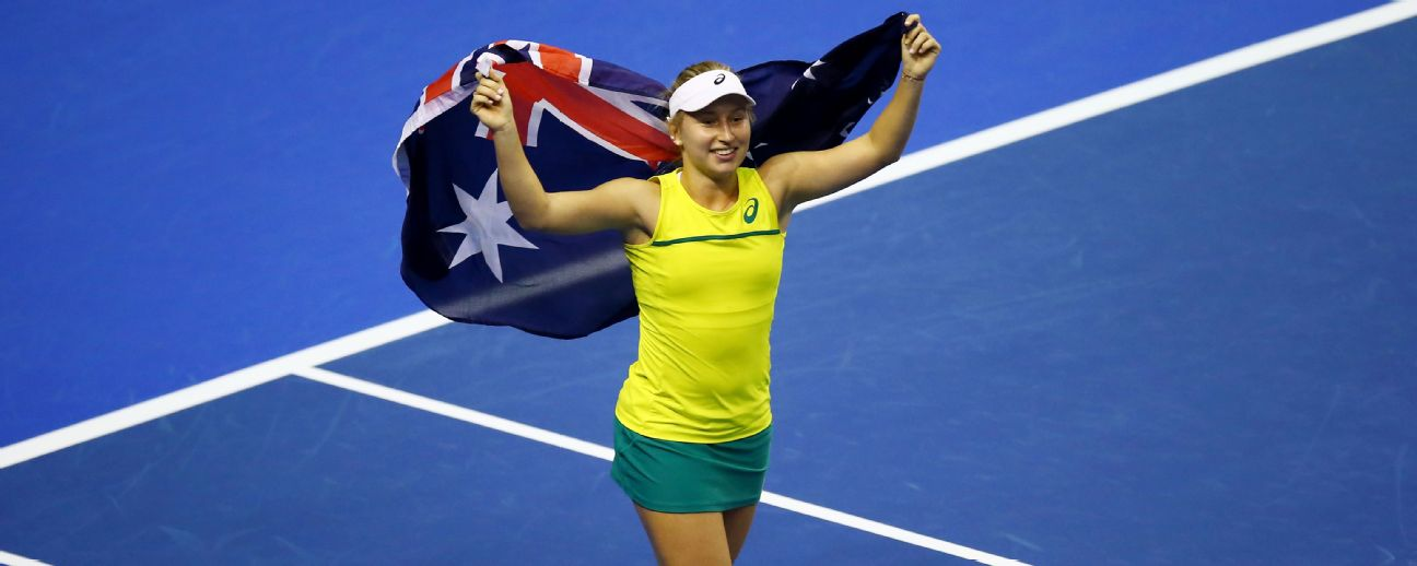 Daria Gavrilova of Australia celebrates winning the Fed Cup tie for Australia.