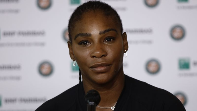 Serena Williams attends the press conference during the Roland Garros Tournament
