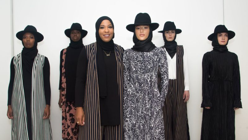Ibtihaj Muhammad presents (and wears) her Fall 2018 Louella collection during her New York Fashion Week debut on Monday for MAARKAH: New York Modest Fashion Show.