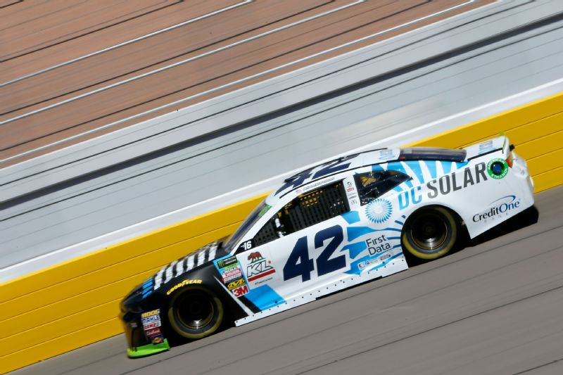 Kyle Larson drives during practice for the Monster Energy NASCAR Series South Point Hotel and Casino 400 at Las Vegas Motor Speedway on September 14, 2018.