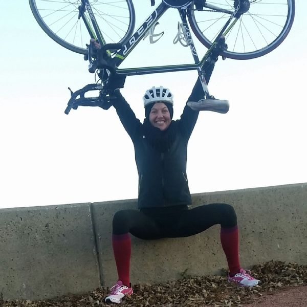Lynn Rogers celebrating her first outdoor bike ride post-diagnosis, on Thanksgiving Day 2017.