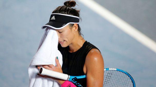 Garbine Muguruza of Spain reacts during her women's singles semi-final match against Wang Qiang