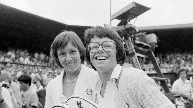 King and Martina Navratilova walk from Wimbledon's Centre Court after beating Betty Stove and Wendy Turnbull for the 1979 women's doubles title.