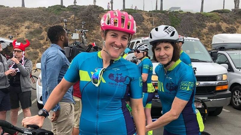 Tina Ament, right, with her guide, Pamela Anne Ferguson, before the start of Race Across America.