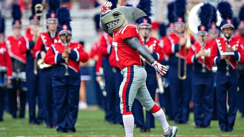 Ole Miss' Tony the Landshark mascot performs before a game against the Southern Illinois Salukis at Vaught-Hemingway Stadium on Sept. 8 in Oxford, Mississippi.