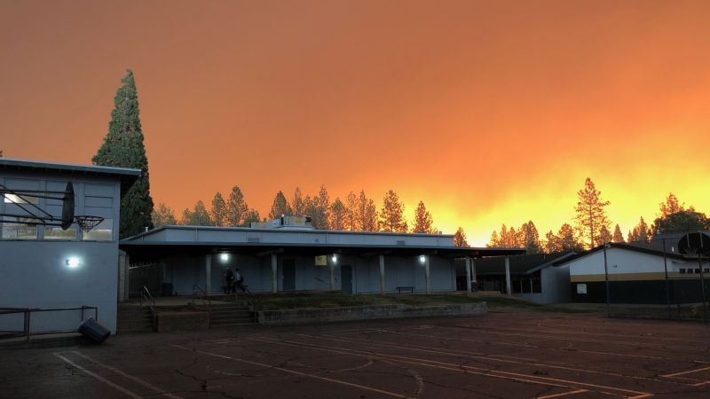 A photo of Paradise High School, taken the morning of the fire by athletic director Anne Stearns.