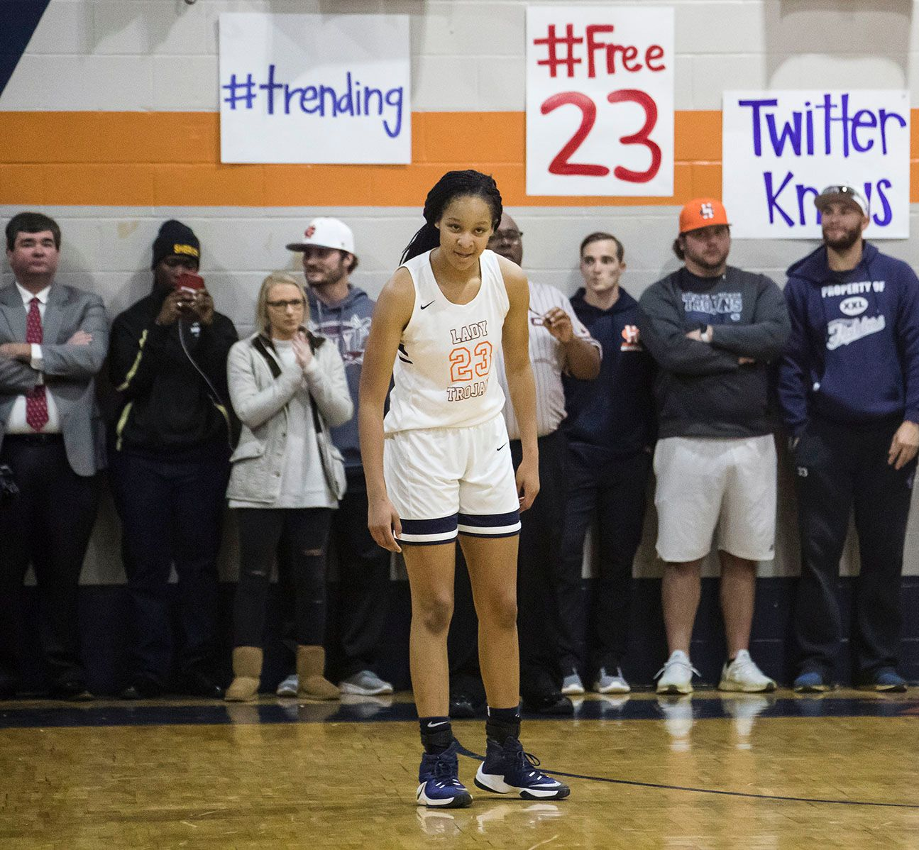 The Charles Henderson gym was packed with both people and signs showing their support for Maori Davenport.