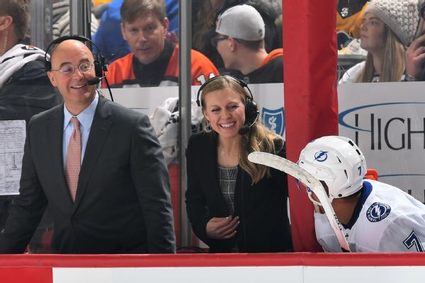 Kendall Coyne Schofield, center, says she didn't think twice about Pierre McGuire's comments, but understands why people would be offended.