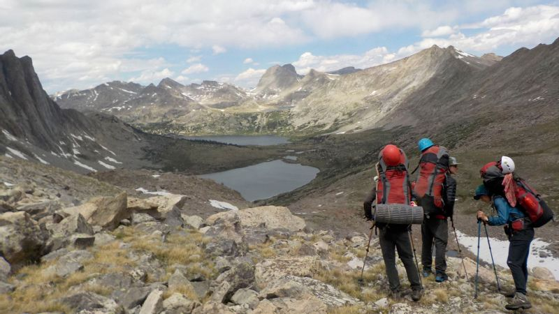 Caitlin Ward, a former lacrosse player who started hiking to aid her recovery from post-concussion syndrome, and crew in Wind River Range, Wyoming.