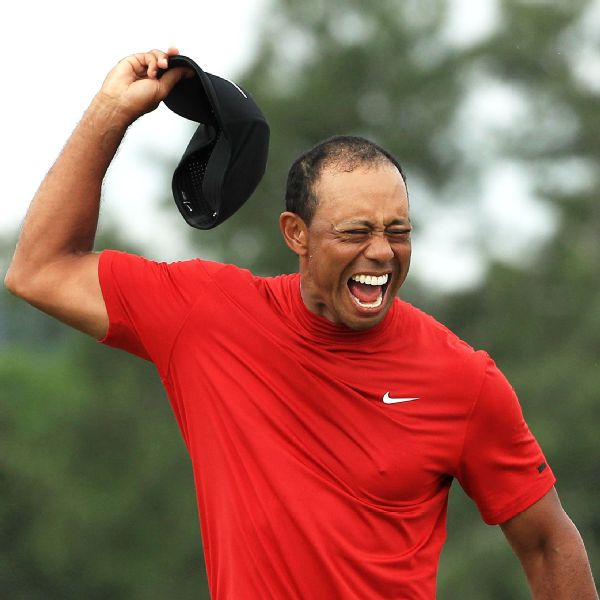 2019 Masters Tournament (Tiger Woods celebrates )