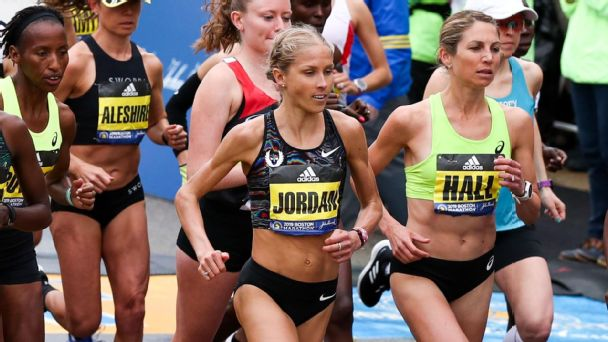 Jordan Hasay rebounded from multiple heel fractures to finish third at the Boston Marathon. She has now finished third in her three marathons.