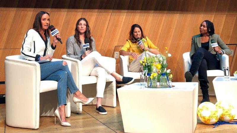 Catt Sadler, Hilary Knight, Julie Foudy and Venus Williams discussed gender pay inequity Saturday in Paris.