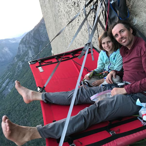 At the end of each day, Selah, her father, Mike, also pictured, and Mark Reiger would set up their portal ledge for the night, where they would eat dinner and sleep.