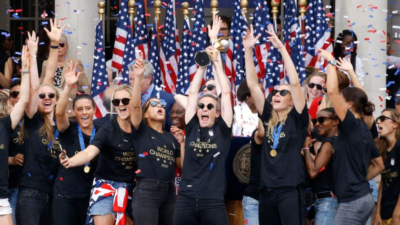 Chants of equal pay broke out at the USWNT's victory parade in New York City.