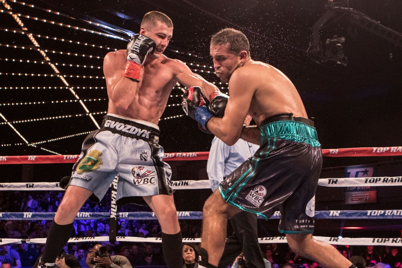 Oleksandr Gvozdyk  ( Black and silver trunks ) defeats Medhi Amar ( Black with green trunks ) in their Light heavyweight Title fight at The Hulu Theatre at Madison Square Garden on March 17, 2018 in New York City.