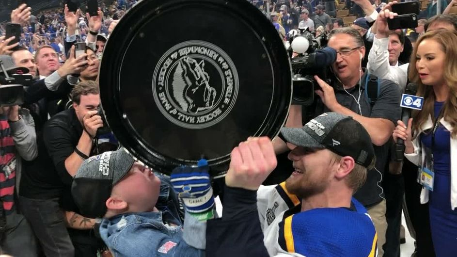 Superfan Anderson, 11, part of Blues' celebration