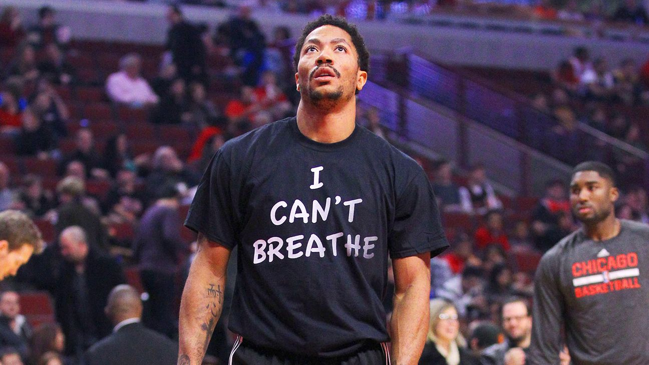Derrick Rose of Chicago Bulls wears 'I Can't Breathe' shirt in reference to  Eric Garner